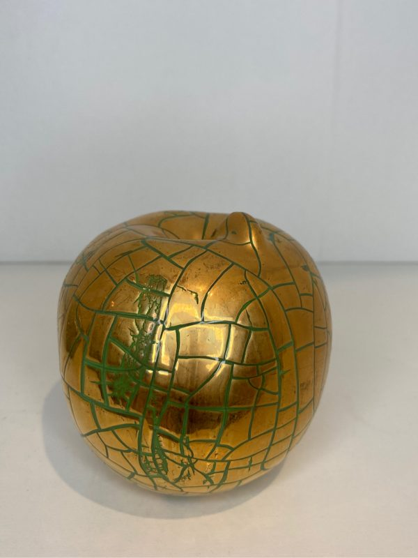Golden Glazed Ceramic Apple Figurine Decorative
