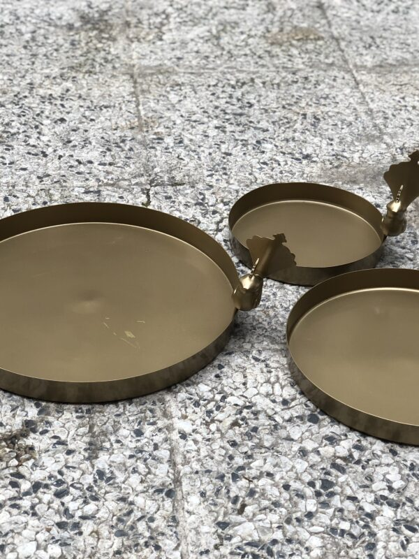 Set of 3 Bronze Ashk Plate With a Bird Attached to its rim