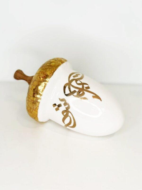 White Acorn Art Glass Sculpture