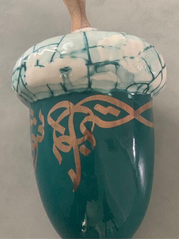 Green Acorn Art Glass Sculpture